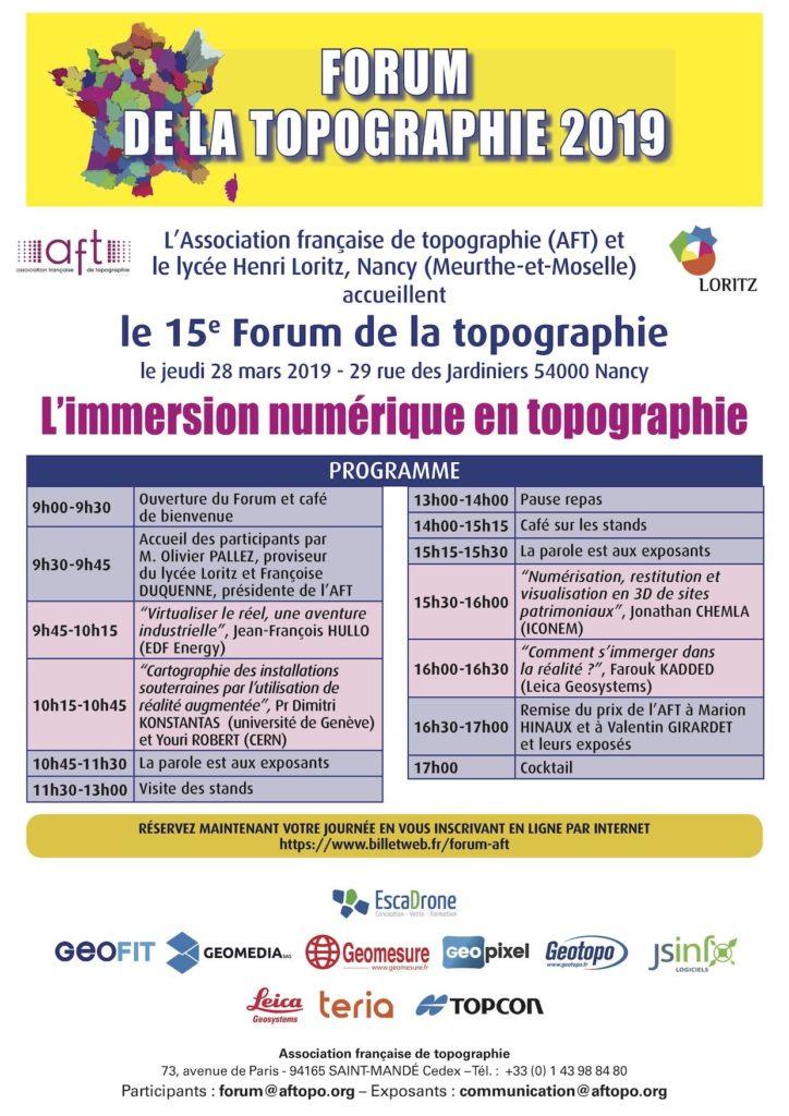 Le 28 mars GEOFIT participera au 15ème Forum de l'AFT, organisé au Lycée Technique Henri Loritz à Nancy.