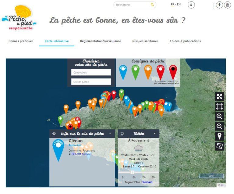 Geofit réalise le nouveau service de geoportail de pecheapied-responsable.fr