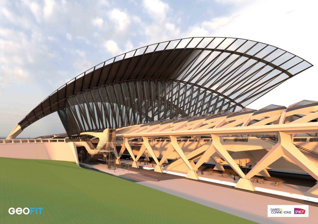 Sollicité par AREP et Gares&Connexions / SNCF, GEOFIT a réalisé les relevés et la modélisation de la Gare SNCF de Lyon Saint-Exupéry.